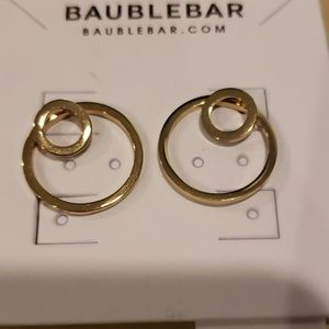 Baublebar gold toned hoop ear jacket earrings